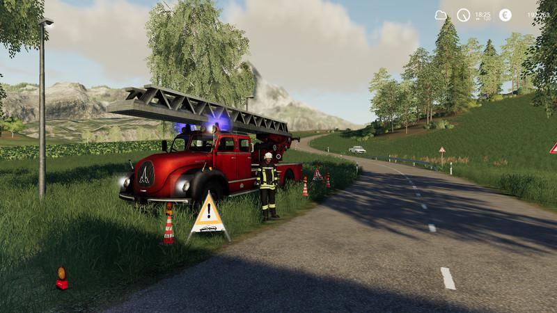 Placeable fire service with light and sound v1 0 for LS 19